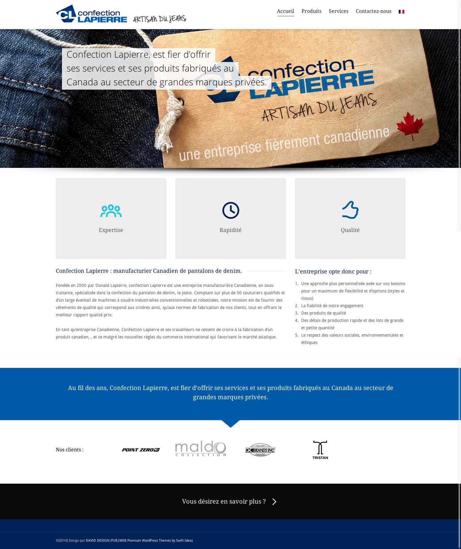 Page d'accueil du site Confection Lapierre