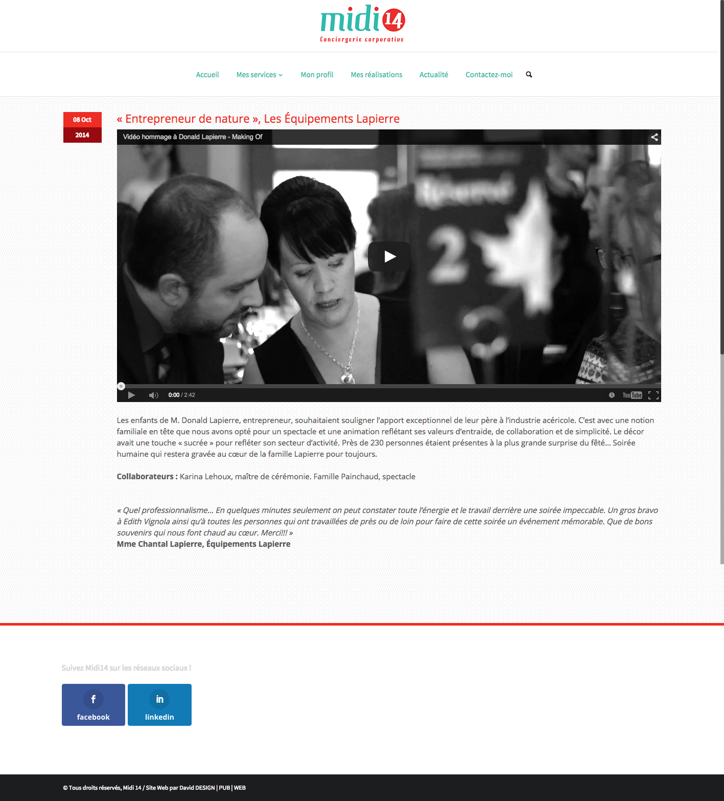 Page d'une réalisation de Midi14.com