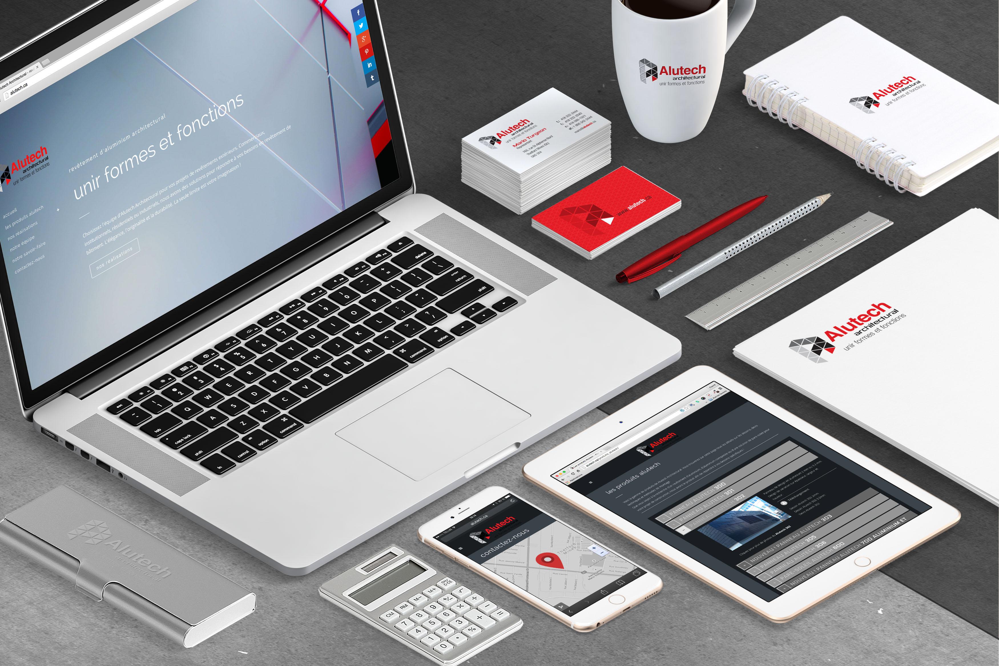 Conception d'une nouvelle image pour Alutech Architectural. Logo, site Web, kiosque, cartable et différents outils de vente.